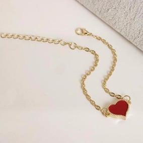 5 Pulseira Feminina Coração Vermelho Linda E Delicada+frete