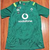 Camisa Irlanda Rugby Autografada Elenco Mundial 2015 0bf2d2a7c8385