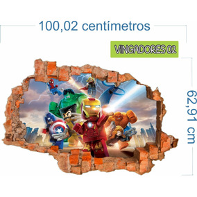 Adesiv0 Recortado Parede Quebrada Vingadores Mod. 02