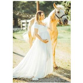 Vestido De Maternidad Seccion De Fotos Talla S Blanco Saslax