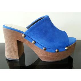 Zueco Con Plataforma Y Tachas Gamuza - Zapatos de Mujer en Mercado ... 25785b79766