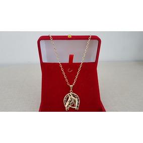 Corrente Folheada Ouro Masculina 60cm Pingente Cavalo - 6646
