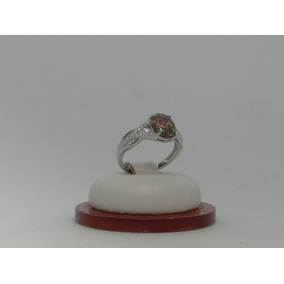 Hermoso Anillo De Plata 925 Con Opalo Y Cristales B7f0a17