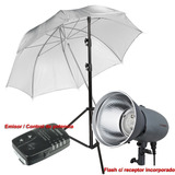 Kit Flash Estudio Vl 200w Visico Sombrilla Pie Emisor Remoto