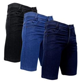 Kit 3 Bermuda Jeans Short Masculino Com Lycra Promoção 49,99