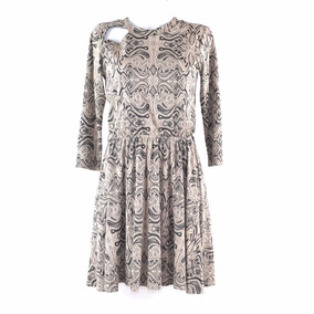 Sarah Bustani Vestido Beige Estampado M Msrp $800