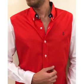 Camisa Color Rojo Mangas Blancas
