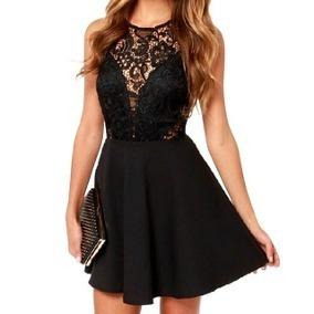 Vestido negro corto corte princesa