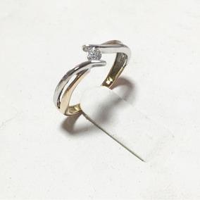 Anillo Oro 14k Compromiso Bicolor Diamante .10ct (2.8mm)