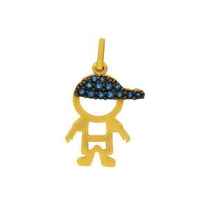 9402ac8dd99d3 Pingente De Ouro 18k Menino Boné Zircônia Azul 2cm