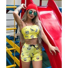 b29ac84f6be Conjunto Cropped E Shorts Adidas Tamanho U - Short U no Mercado ...