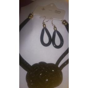 Collar Y Aretes Negro / Gargantilla En Forma De Nudo