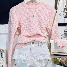 Blusa Sueter Coração 3d Blogueira Moda Barata 2018