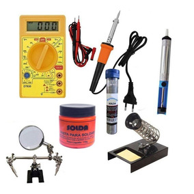 4046 Kit Solda Multímetro Ferro Suporte Sugado Estanho Pasta