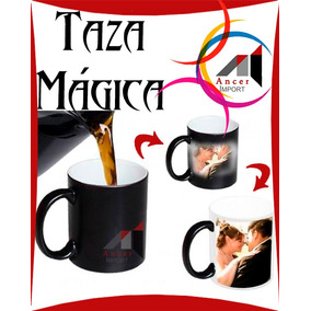 Taza Magica Personalizada Estampada Sublimada Negro Y Azul