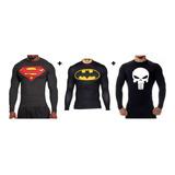 Super Kit 3 Rashs Guards Justiceiro, Superman E Batman