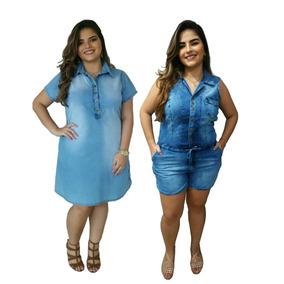Kit 1 Vestido Plus Size E 1 Jardineira Macaquinho Promoção