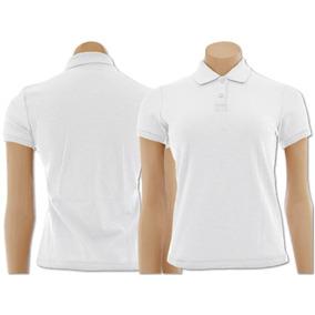 Camisa Polo Feminina Branca - Pólos Manga Curta Femininas no Mercado ... 75c394a91bec9