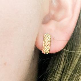 Brinco Diamantado Losangos Meia Argola 13mm Ouro Amarelo 18k 889e52fd31