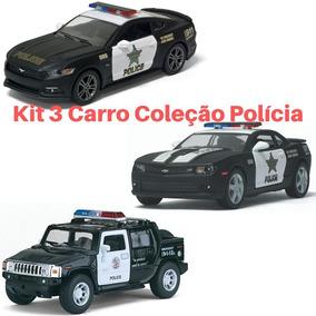 Kit 3 Carros Policial D Coleção 1/32 Policia / Viatura Ferro