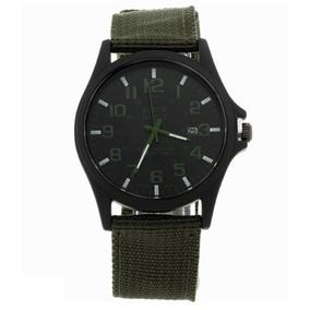 Reloj Tela Hombre Pulsera Analogo- Tipo Militar- Verde Olivo
