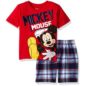 Camiseta Short Cuadrado Niños Mickey Mouse Disney