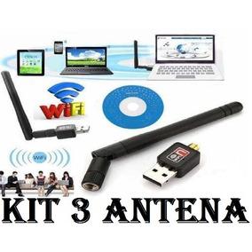 Kit 3 Wireless Adaptador Wifi Usb Antena Removível 900mbps