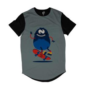 Camiseta Longline Long Beach Pulga Hard Flip Full Print Cinz 42f87f3edf0
