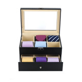 Tie Display Case For 12 Ties Black Carbon Fiber Two Level St