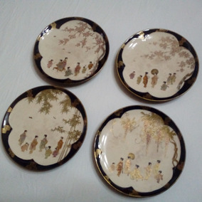 Antiguos Platos De Porcelana Oriental Geishas Sellados