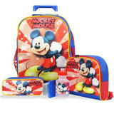 Kit Escolar Mochila Rodinhas Mickey Mouse,lancheira E +