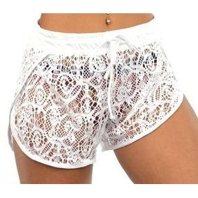 Shorts Curto Feminino Moda Praia Transparente Com Renda