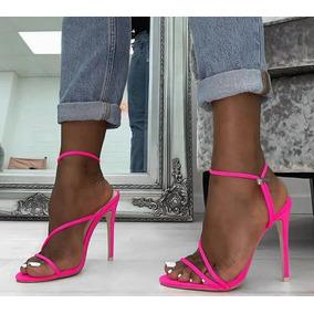 Sandália Salto Alto Verão Neon Moda Feminina 2019