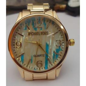 Relógio M K Mostrador Collor Detalhado Pulseira Série Ouro