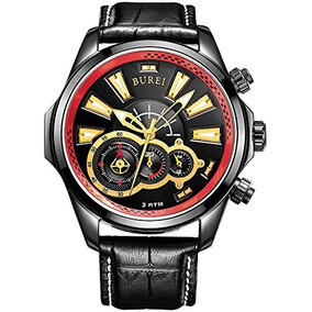 Burei Men Chronograph Stopwatch Black Analog Dial Gold Index