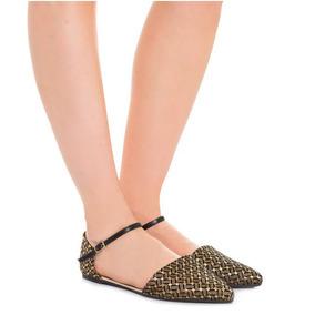 Sapatilha My Shoes Scarpin Preto Lurex Tam 35