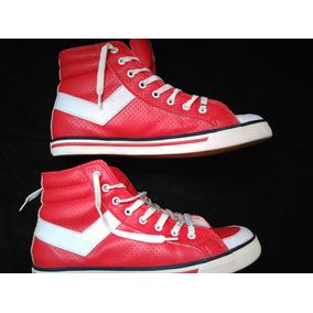 Zapatillas Botitas Pony Cuero Roja Varial Hi 41 Como Nuevas