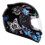 Capacete Tam 56 Moto Ebf New Spark Borboletas Preto Azul