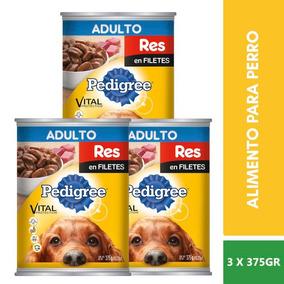 3 Pzs Pedigree Alimento Carne Res Filetes Perro Adulto 375g