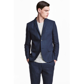 Saco H&m Slim Fit Linen Blazer Lino Excelente!...