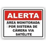 4 Placa Alerta Área Monitorada Câmera Via Satélite 40x30cm