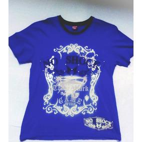 Camiseta Masculina Azul Estampa Manga Curta Camisa Algodao.