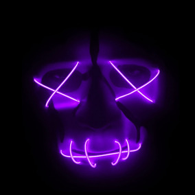 Máscara The Purge Sem Face Halloween Rave Com Led - Rosa