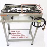 Fogao Industrial 2 Bocas Pé Registro 5 Caulim Mang Nbr13419