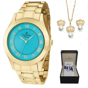 351d963c5ff Relogio Feminino Dourado Fundo Azul Turquesa - Relógios De Pulso no ...