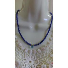 Collar De Zafiros Naturales Lisos Con Centro De Cuarzo Azul