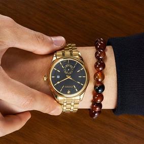 Relógio De Luxo Banhado A Ouro Aço Inox Envio Em 24hrs