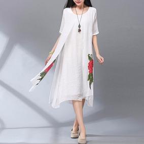 Vestido blanco flores rojas
