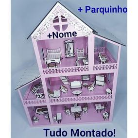 Casinha De Boneca Polly / Lol+36 Móveis Branco+parquinho Mdf