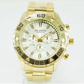 dcea3aeadd0 Relógio Dourado Masculino Sports Original Aço Prata Grande